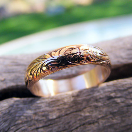 Wedding Gold Ring Band, Gold Floral Pattern Ring Band, 14K Gold Ring Band, Gold Wedding Ring, Gold Engagement Ring - HorseCreekJewelry