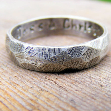 Palladium Sterling Silver Wedding Ring, Mens Textured Ring Band, Rustic Worn Organic Textured Ring Band - HorseCreekJewelry