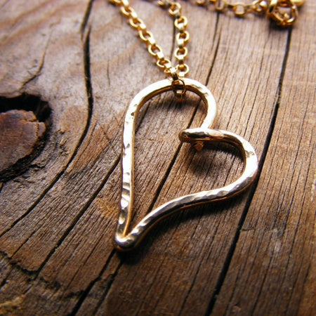 14Kt Gold Heart Valentine Layering Necklace - HorseCreekJewelry