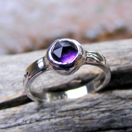 Purple Amethyst Birthstone Personalized Engraved Ring - HorseCreekJewelry