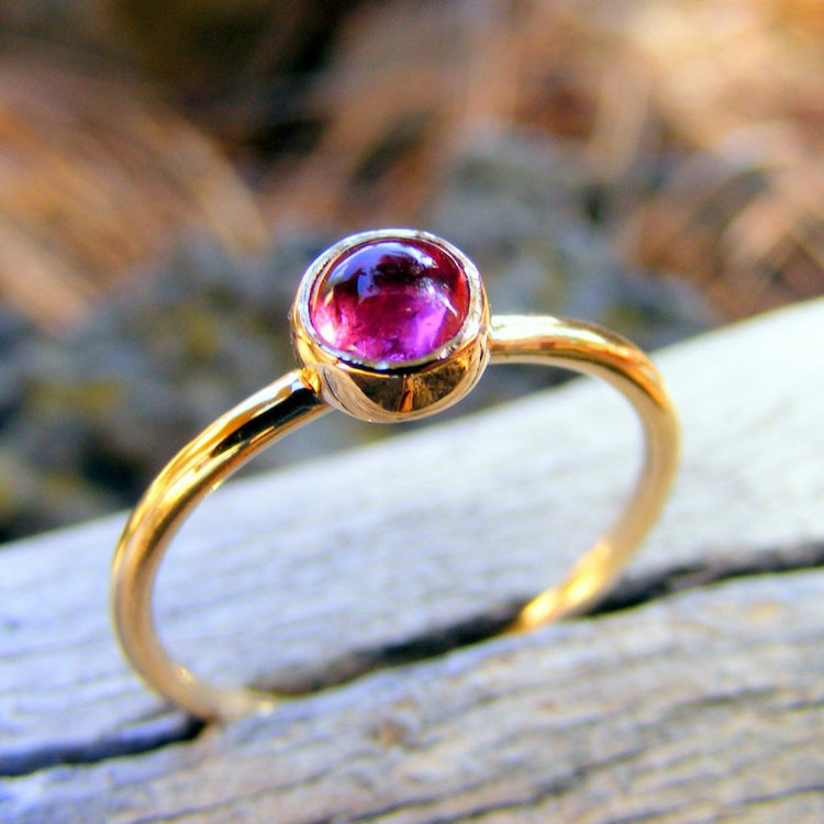 Pink Tourmaline 14K Gold Stacking Ring October Birthstone - HorseCreekJewelry