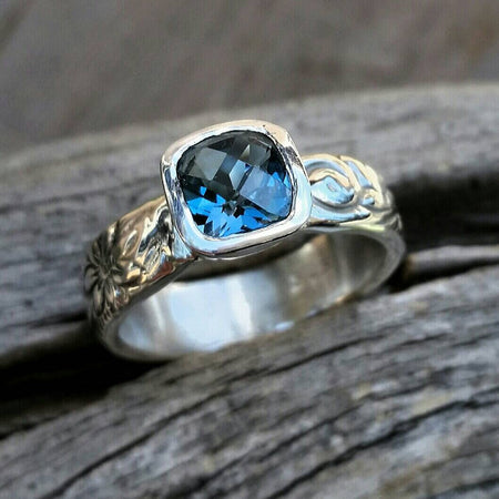 Blue Topaz Sterling Silver Floral Ring Band - Engagement Or Wedding Ring - HorseCreekJewelry