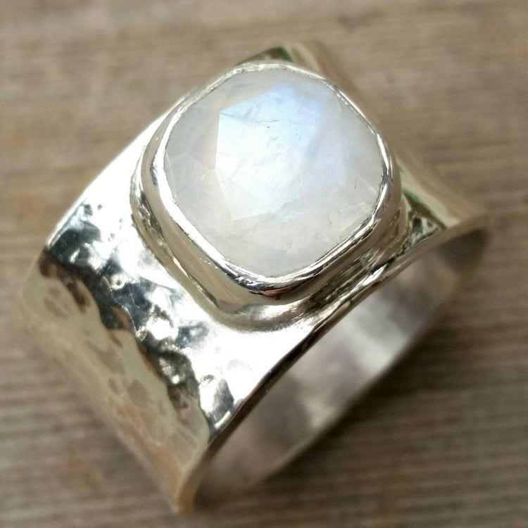 Moonstone Ring,  Wide Moonstone Sterling Silver Ring, Rose Cut Moonstone Big Chunky Ring, Rainbow Moonstone Wide Ring, Recycled Silver - HorseCreekJewelry