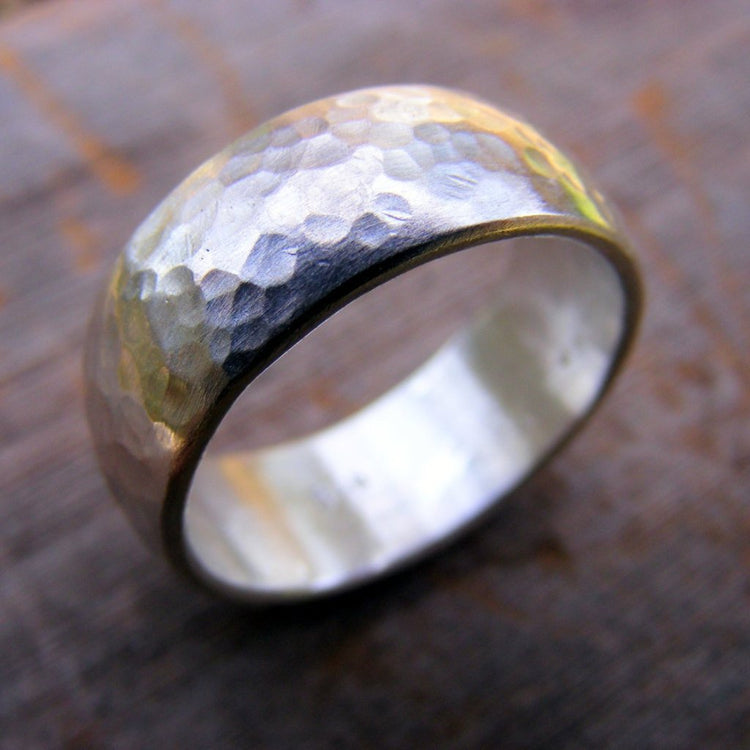 Sterling Silver Wide Wedding Band, Unisex Rustic Mens Or Womens Hammered Silver Ring Band - HorseCreekJewelry