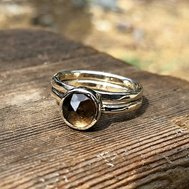 Smokey Quartz Stacking Ring - Solid White Gold Or Sterling Silver Option - Smoky Quartz Stackable Rings - Chocolate Brown Gemstone - HorseCreekJewelry