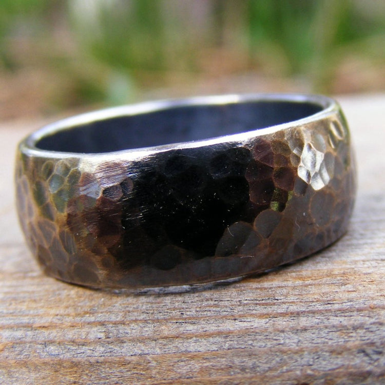 Sterling Silver Wide Wedding Engagement Ring Band, Oxidizid, Rustic, Hammered,  Mens Or Womens Unisex Jewelry, Handcrafted - HorseCreekJewelry