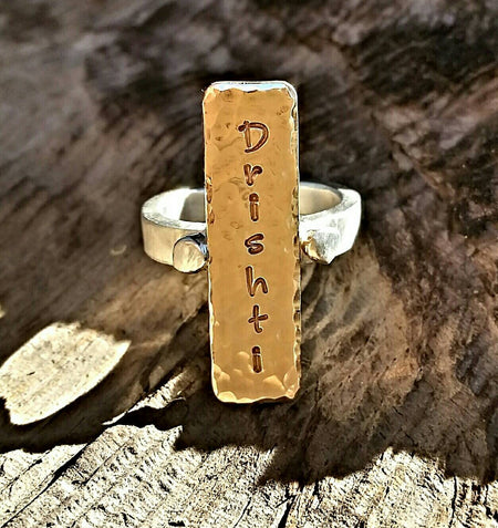 Gold Silver Mixed Metal Custom Engraved Ring, Handstamped Personalized Engraved Yoga Or Name Statement Ring, Inspirational Memory Jewelry - HorseCreekJewelry