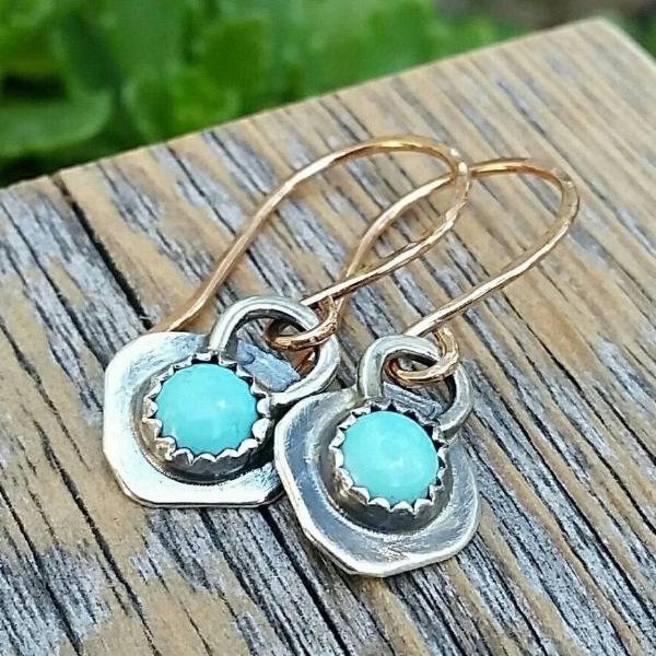 Turquoise Dangle Earrings, Sterling Silver And Gold Mixed Metal, Rustic Cowgirl Southwest Boho style Jewelry - HorseCreekJewelry