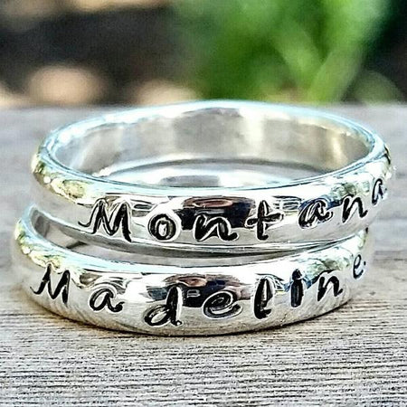 Personalized Name Stacking Ring- Custom Handstamped Engraved Word, Mother's Day Ring Gift, Memory Ring, Message Ring - HorseCreekJewelry
