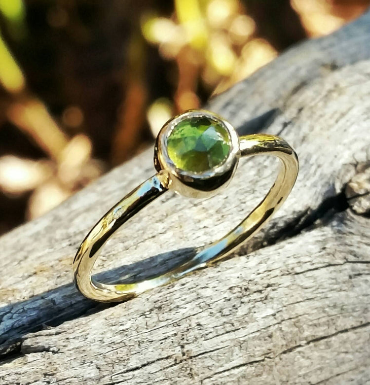 Peridot Gold Stacking Ring, Gemstone Birthstone Jewelry, Mother's Stackable Ring, Handcrafted By Helene's Dreams - HorseCreekJewelry