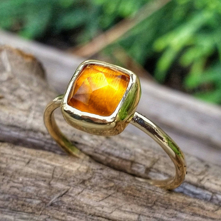 Solid Gold Citrine Stacking Ring with Rose Cut Citrine Gemstone, November Birthstone Ring, Yellow Gemstone Jewelry, also in Sterling Silver - HorseCreekJewelry