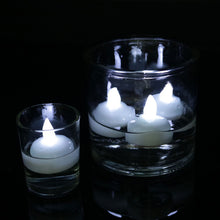 Cargar imagen en el visor de la galería, 12 PACK Waterproof Flameless Floating Tealights Warm White Battery Flickering LED Tea Lights Candles Wedding, Party, Pool SPA