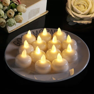 12 PACK Waterproof Flameless Floating Tealights Warm White Battery Flickering LED Tea Lights Candles Wedding, Party, Pool SPA