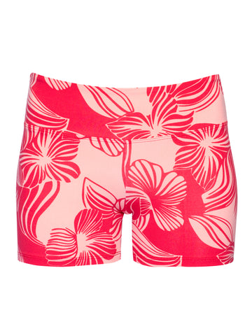 HAWAII PRINT BOOTY SHORTS - RED AND BLUE