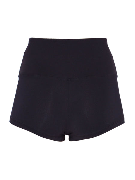 EXTRA SHORT HIGH-RISE BOOTY SHORTS - BLACK