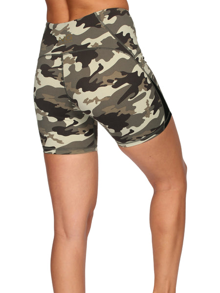 CAMO SHAPER HIGH WAIST BOOTY SHORTS - ARMY