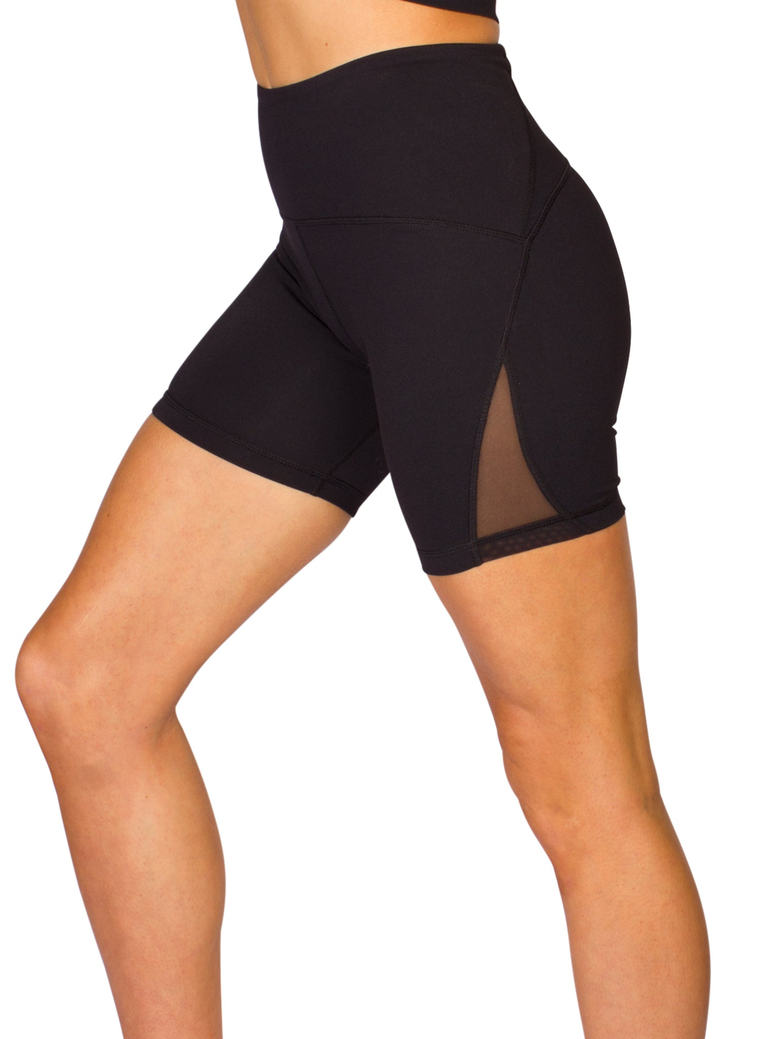 HIGH-RISE MESH CUT OUT POCKETED SHORTS - BLACK