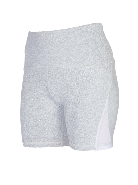 HIGH-RISE MESH CUT OUT POCKETED SHORTS - LIGHT GREY