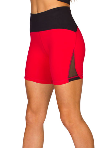 HIGH-RISE MESH CUT OUT POCKETED SHORTS - RED/BLACK