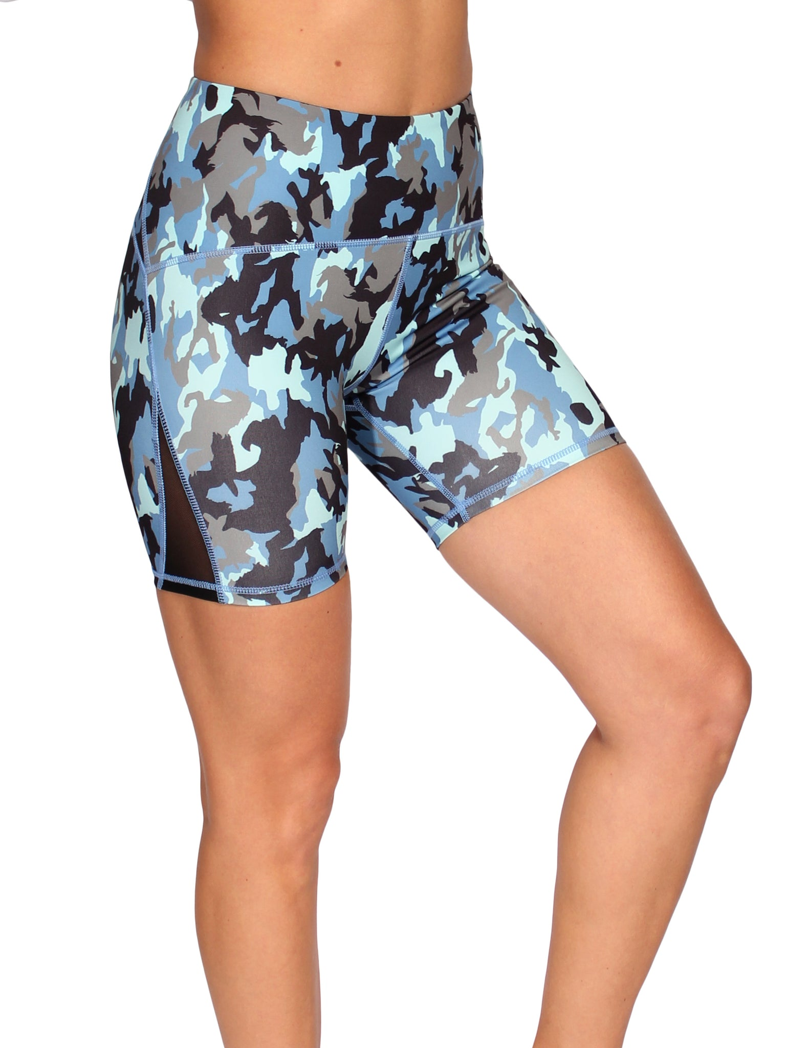 RACER SHAPER HIGH WAIST BOOTY SHORTS - BLUE