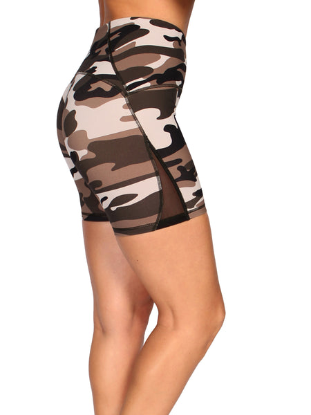 CAMO SHAPER HIGH WAIST BOOTY SHORTS - SAHARA