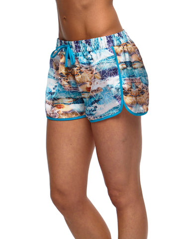 POOL SIDE SATIN SHORTS - AQUA