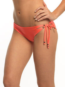 SIDE TIE BEADED BIKINI BOTTOM - CORAL & BLACK