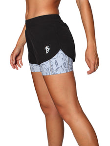 2 IN 1 WARRIOR SHORTS - BLACK