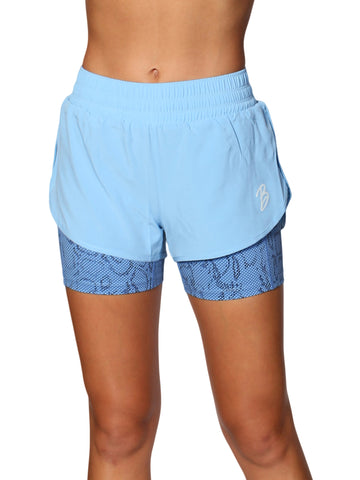 2 IN 1 WARRIOR SHORTS - BLUE