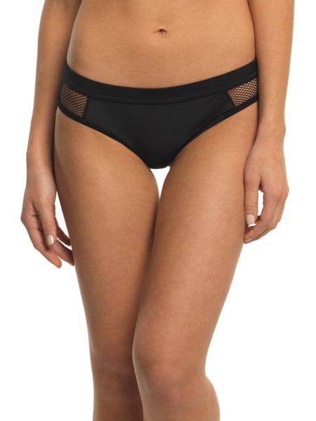 MESH CUT OUT BIKINI BOTTOMS - BLACK