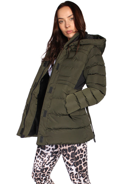 PADDED FUR LINED AND BELTED JACKET - OLIVE