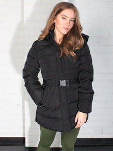 PADDED FUR LINED AND BELTED JACKET - BLACK