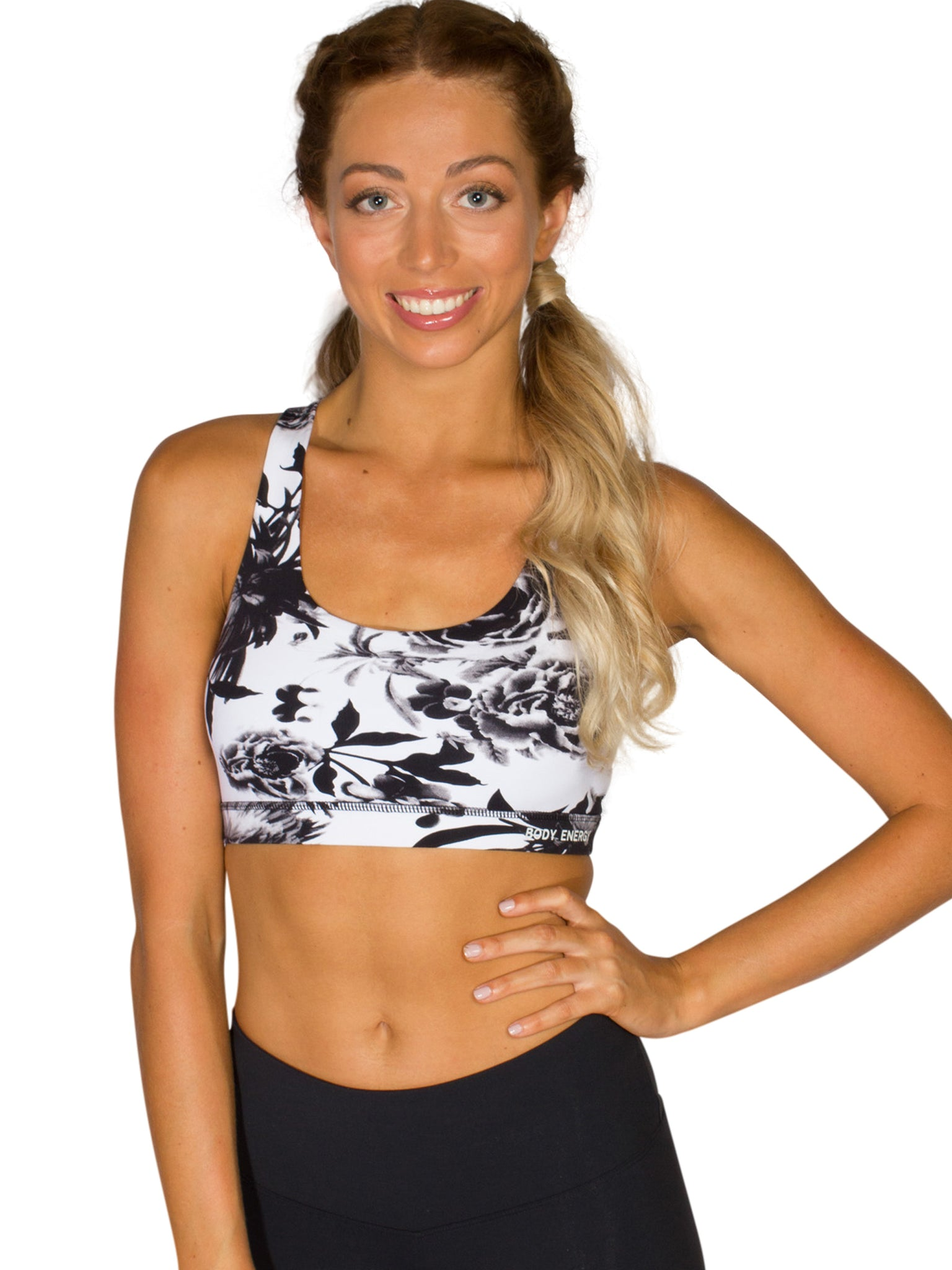 LUXE FLORAL XX SPORTS BRA - BLACK/WHITE