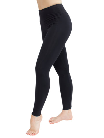 LIGHT FABRIC HIGH WAISTED F/L LEGGINGS - BLACK