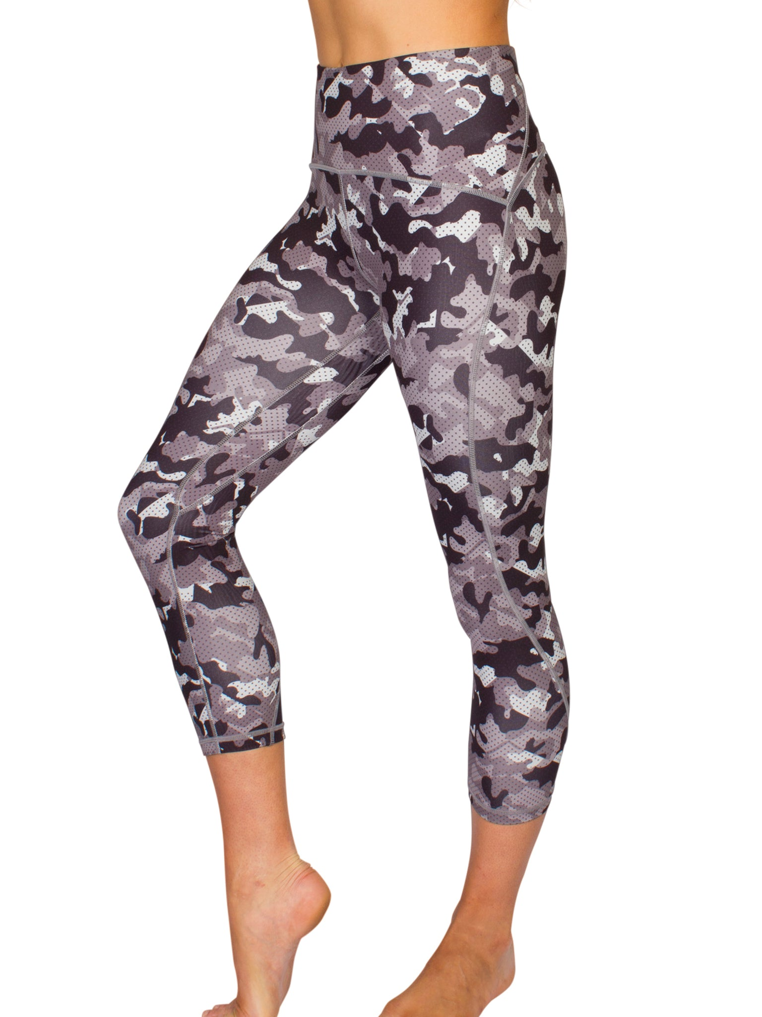 HIGH-RISE CAMO 3/4 TRAINING TIGHTS - GREY