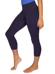 HIGH-RISE POCKET DETAIL 3/4 GYM TIGHTS- NAVY
