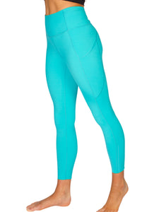 HIGH-RISE POCKET DETAIL ANKLE BITER YOGA TIGHTS - AQUA