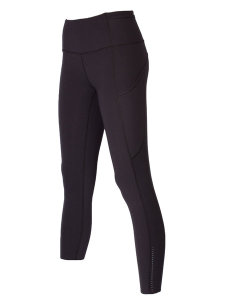 HIGH-RISE POCKET DETAIL ANKLE BITER YOGA TIGHTS - BLACK