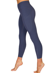 HIGH-RISE POCKET DETAIL ANKLE BITER YOGA TIGHTS - NAVY