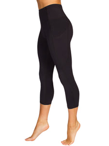 HIGH-RISE POCKET DETAIL 3/4 GYM TIGHTS- BLACK