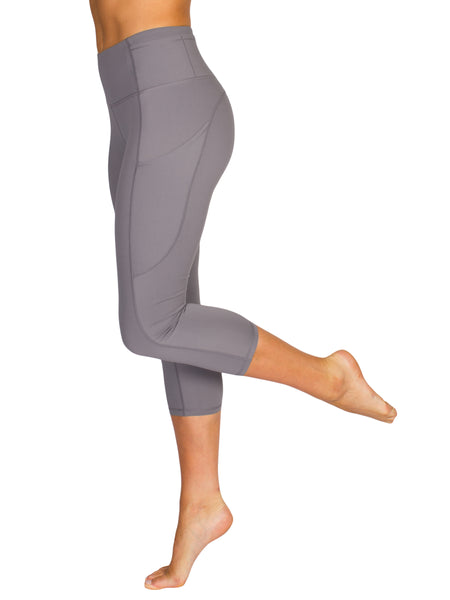 HIGH-RISE POCKET DETAIL 3/4 GYM TIGHTS- SILVER