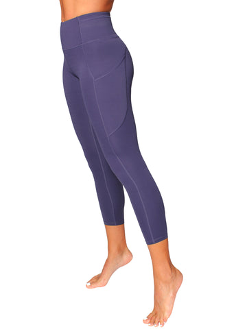 HIGH-RISE POCKET DETAIL 7/8 YOGA TIGHTS - INDIGO BLUE