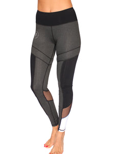 NET CUT OUT F/L FITNESS TIGHTS - CHARCOAL
