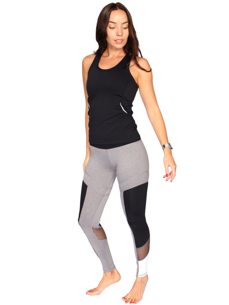 NET CUT OUT F/L FITNESS TIGHTS - GREY MARL