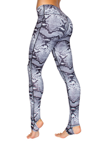 STIRRUP SNAKE YOGA TIGHTS - SILVER/BLACK