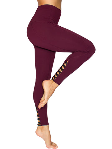 HIGH-RISE CRISS CROSS DETAIL FITNESS TIGHT - BURGUNDY