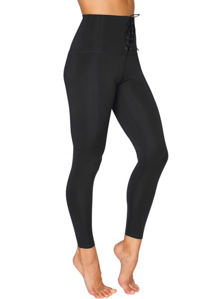 LACE UP HIGH-RISE COMPRESSION TIGHT - BLACK