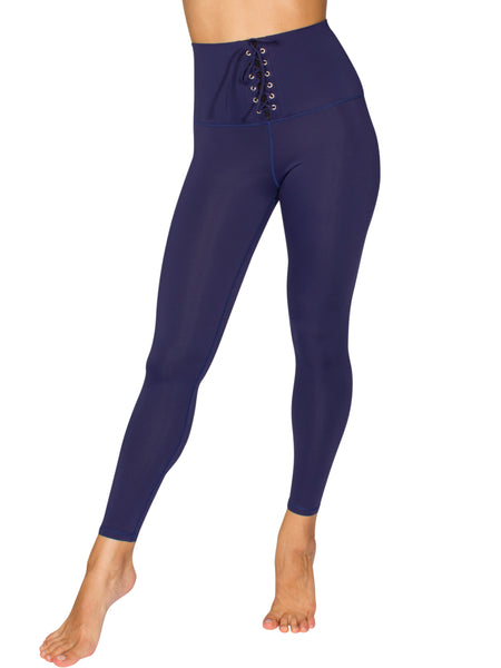 LACE UP HIGH-RISE COMPRESSION TIGHT - NAVY