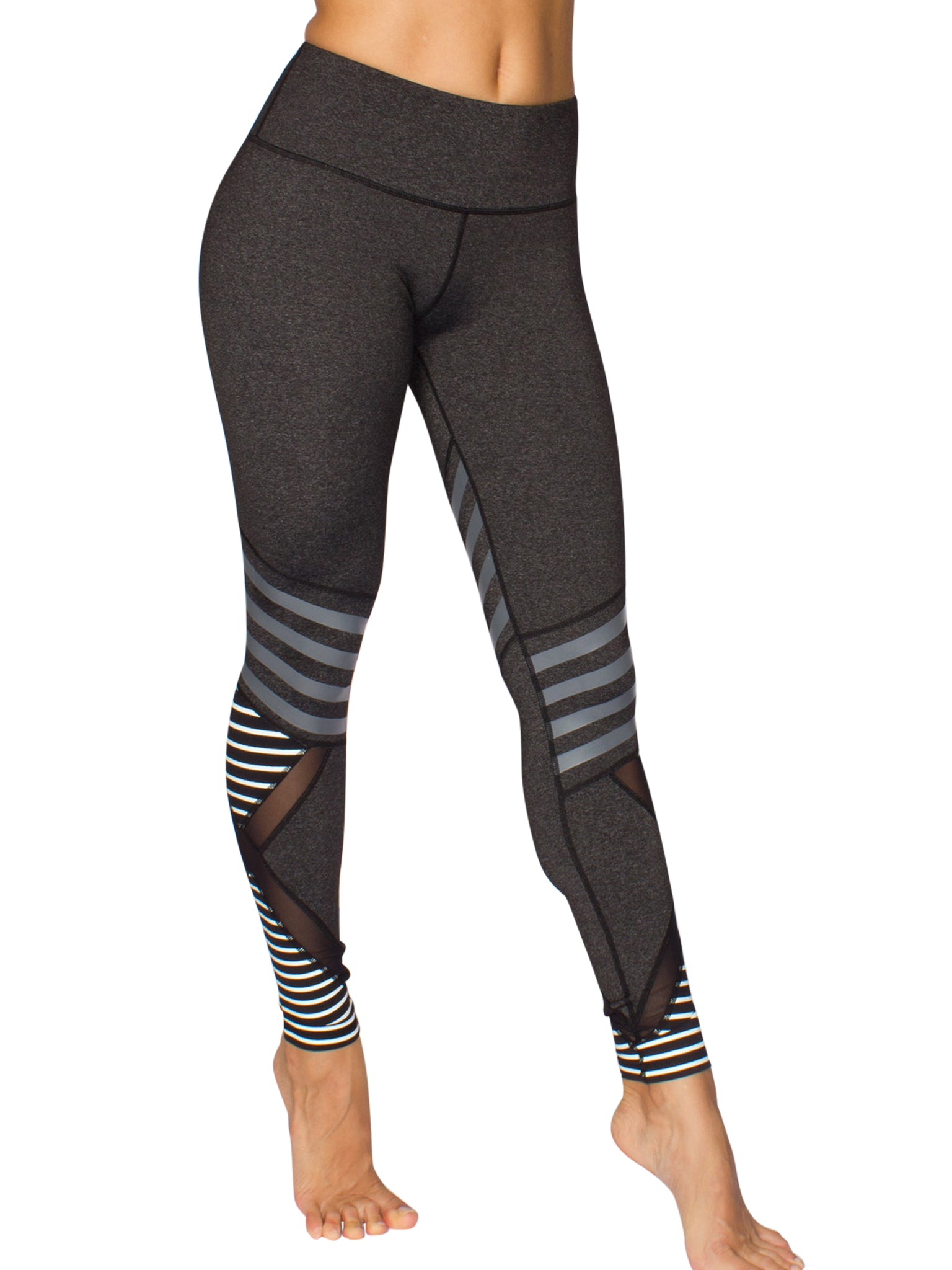 STRIPE CONTENDER FITNESS TIGHTS - GREY/WHITE