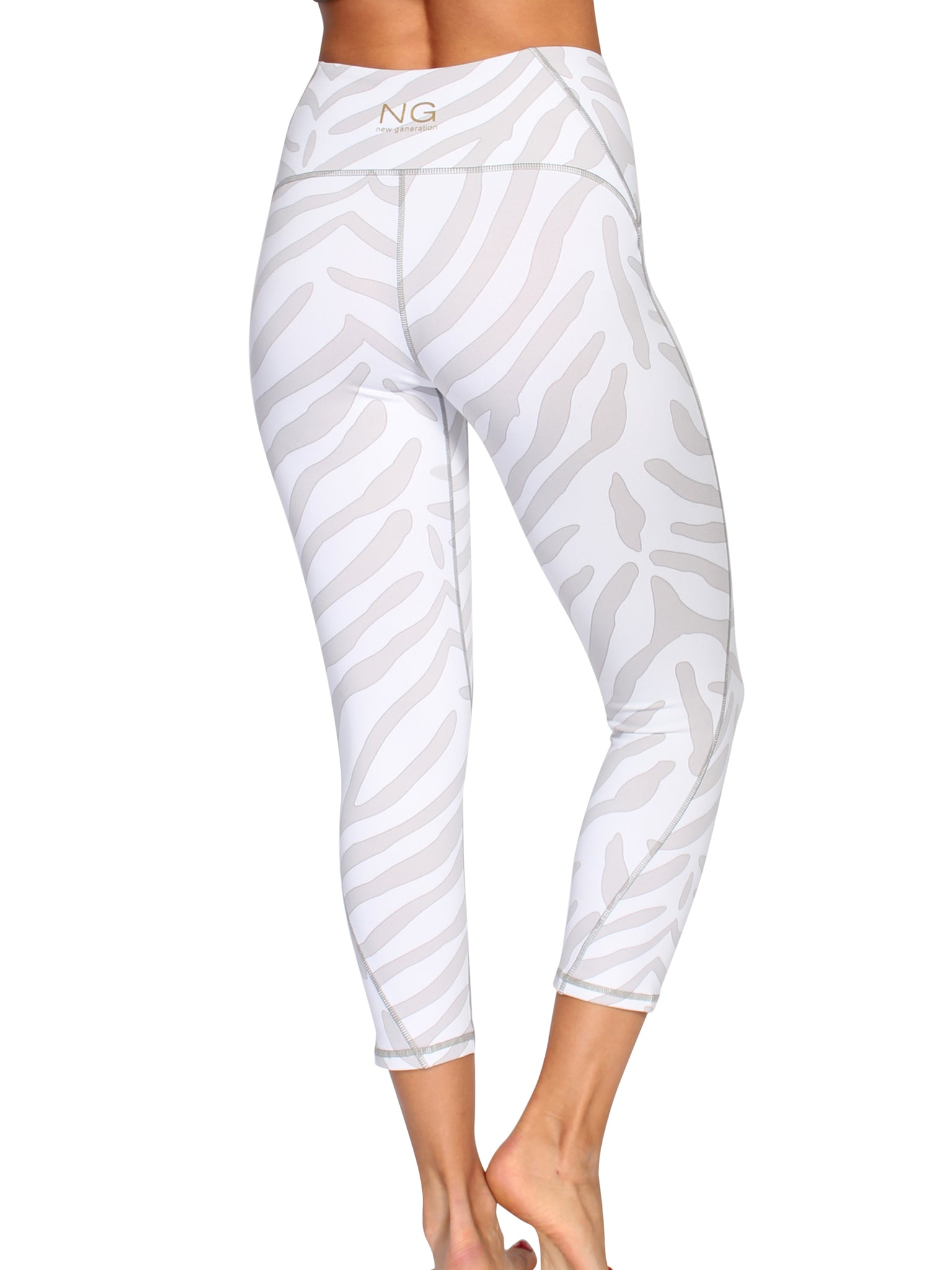 ULTIMATE SUPPORT 7/8 ZEBRA TIGHTS - OFF WHITE/BEIGE
